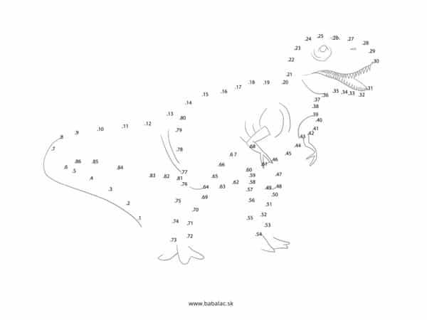 Spájanie bodov pre deti dinosaurus