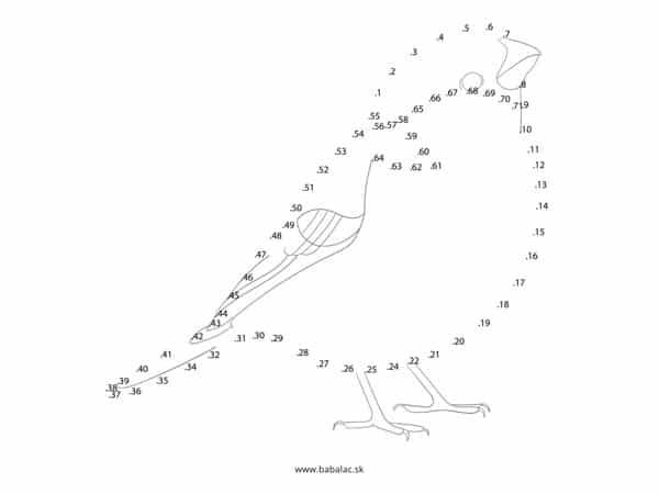 Spájanie bodov pre deti vták