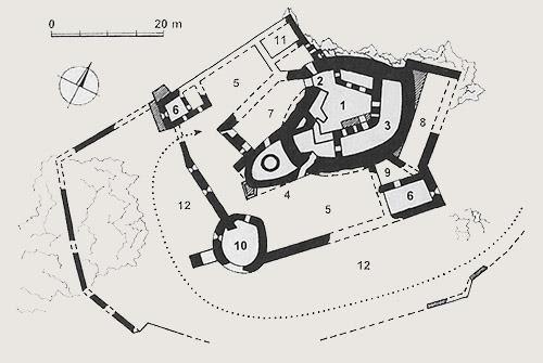 Pôdorys hradu Hrušov